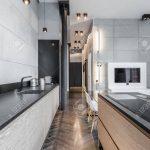 Functional Kitchen With Long Worktop Küche Deckenleuchten Küche