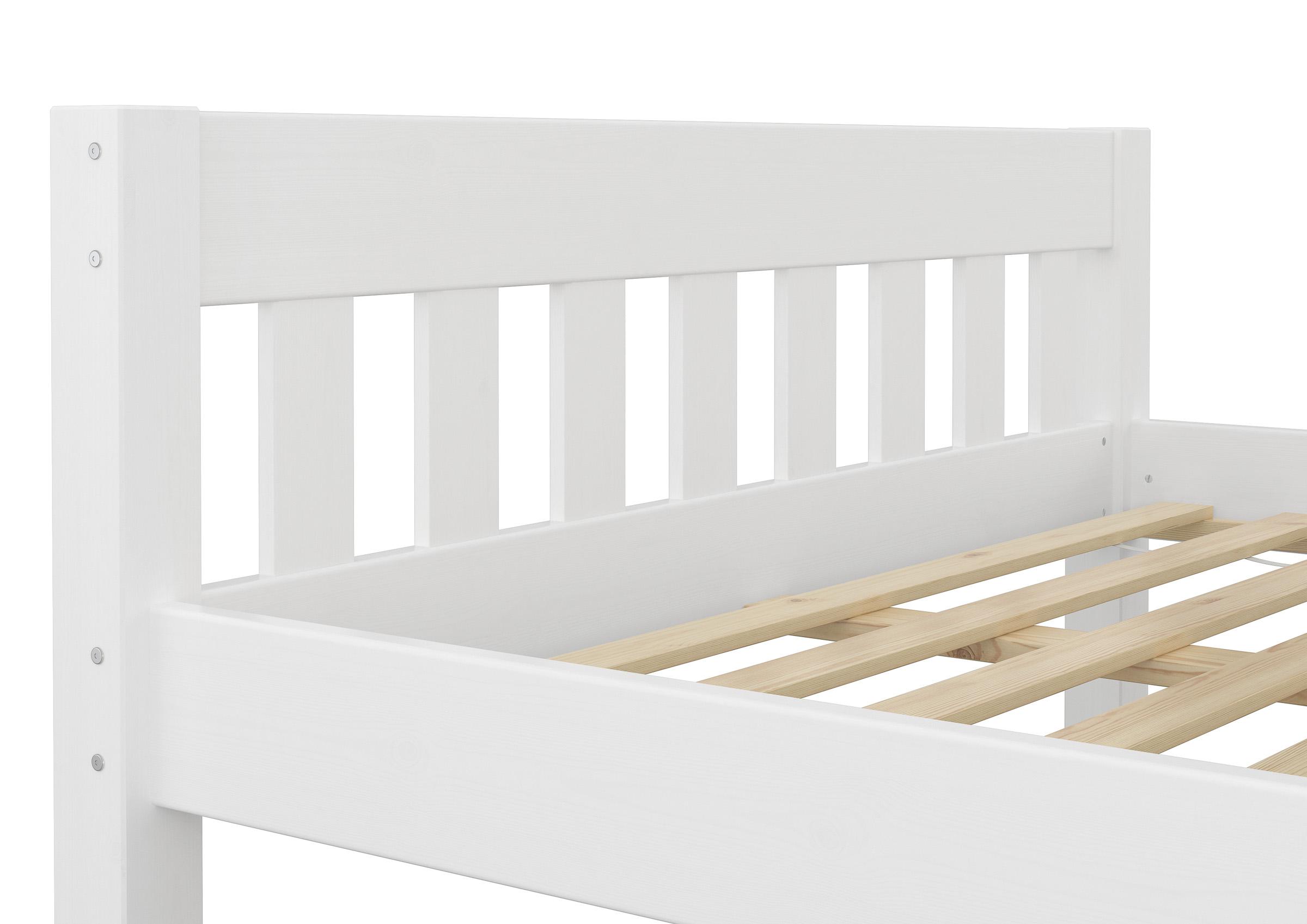 Full Size of Holz Bett Bettgestell Ohne Auflagen Wei Kiefer Massiv 140x200 Selber Bauen Betten 180x200 Französische Jabo Mit Gästebett 120x200 Tojo überlänge Massivholz Bett Weißes Bett 140x200
