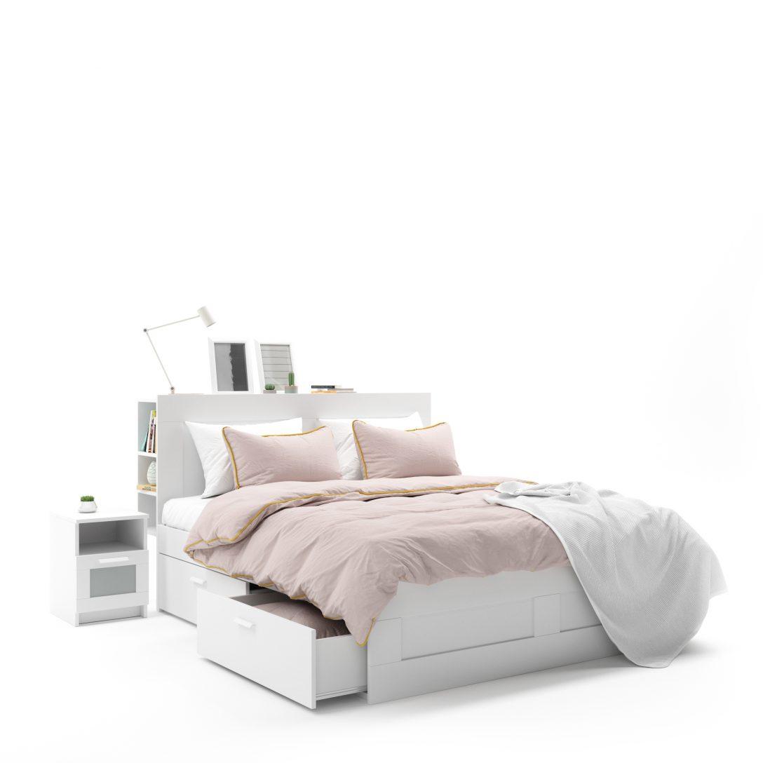 Large Size of Weißes Bett Ikea Brimnes Weies 3d Modell Turbosquid 1493723 Ausklappbares Podest Tojo V Badewanne Bette Betten Mit Schubladen Aufbewahrung Inkontinenzeinlagen Bett Weißes Bett