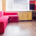 Yellow Kitchen With Cupboards, Window, Laminate And Red Soft Cou Küche Laminat In Der Küche