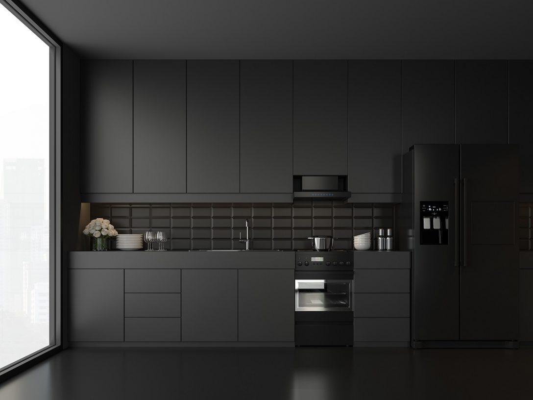 Large Size of Minimal Style Black Kitchen 3d Render.there Are White Floor And Wall, Glossy White Cabinet Doors,black Refrigerator And Oven,the Room Has Large Windows. Lookink Out To The City View. Küche Schwarze Küche