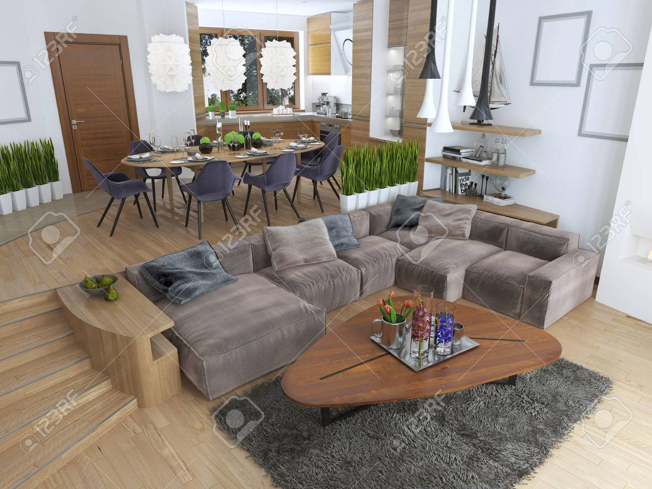 Full Size of The Room Is A Studio With Kitchen And Dining Area And A Living R Küche Anrichte Küche