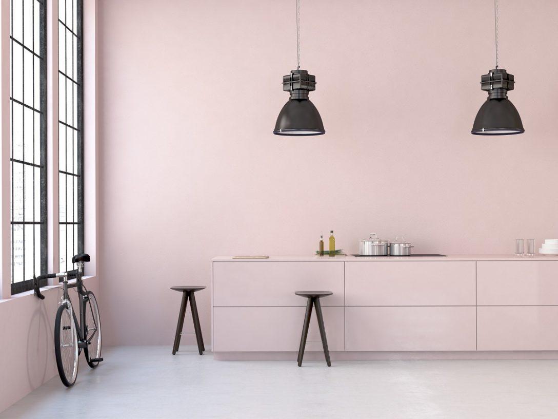 Large Size of Modern Loft. 3d Rendering Küche Küche Rosa