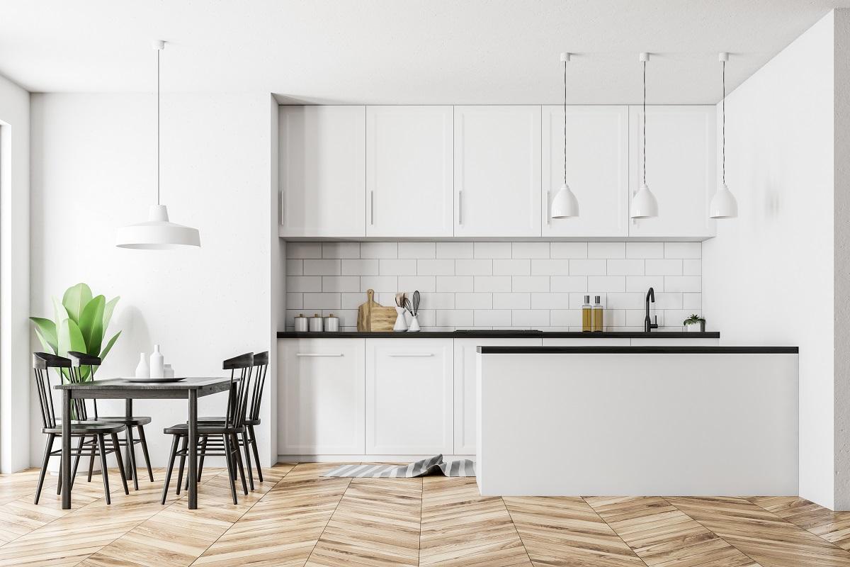 Full Size of White Kitchen Interior, Black Table Küche Küche Sitzgruppe