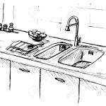 Kitchen Sink. Kitchen Worktop With Sink. The Sketch Of The Kitchen. Küche Spüle Küche