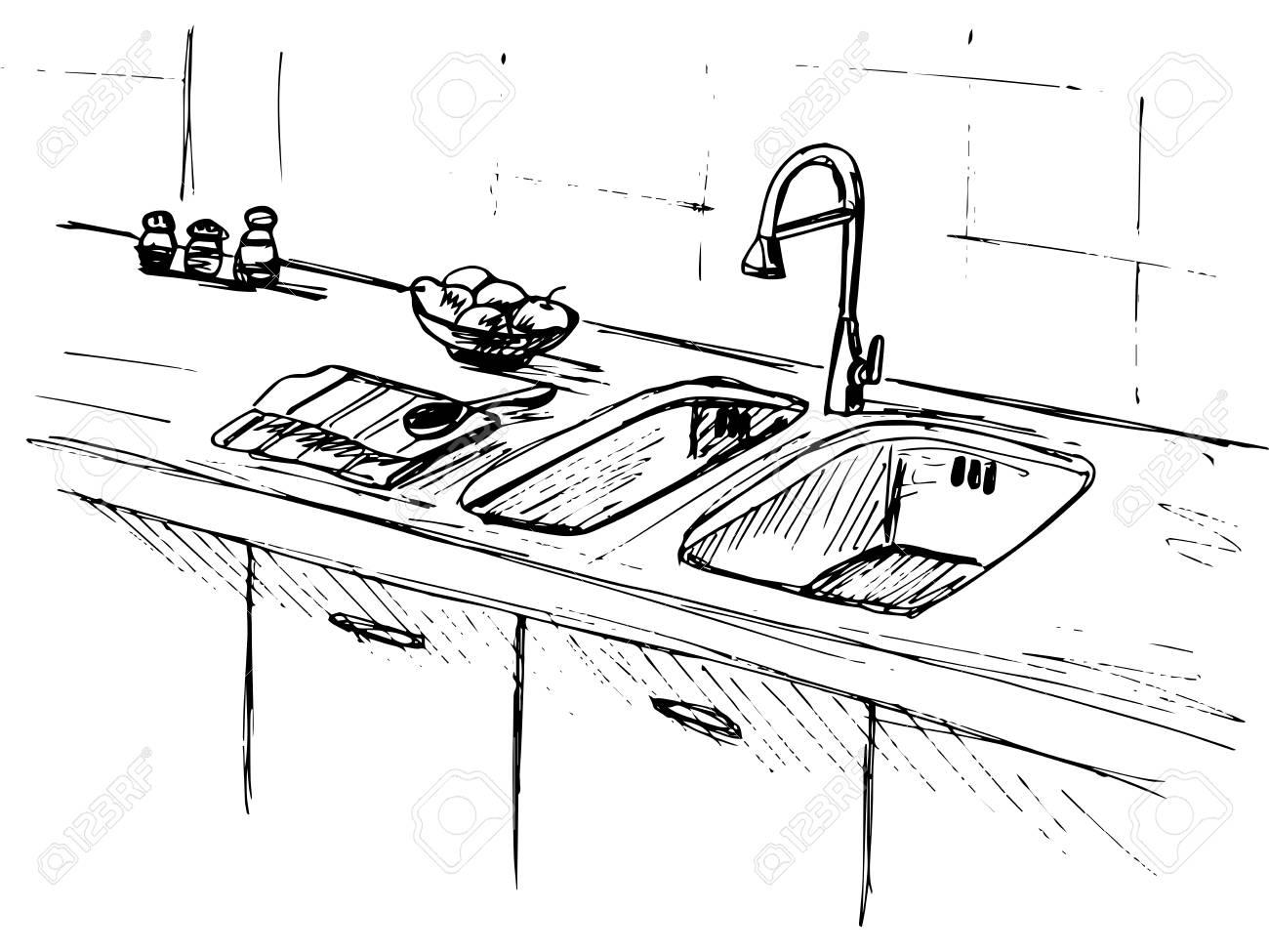 Full Size of Kitchen Sink. Kitchen Worktop With Sink. The Sketch Of The Kitchen. Küche Spüle Küche