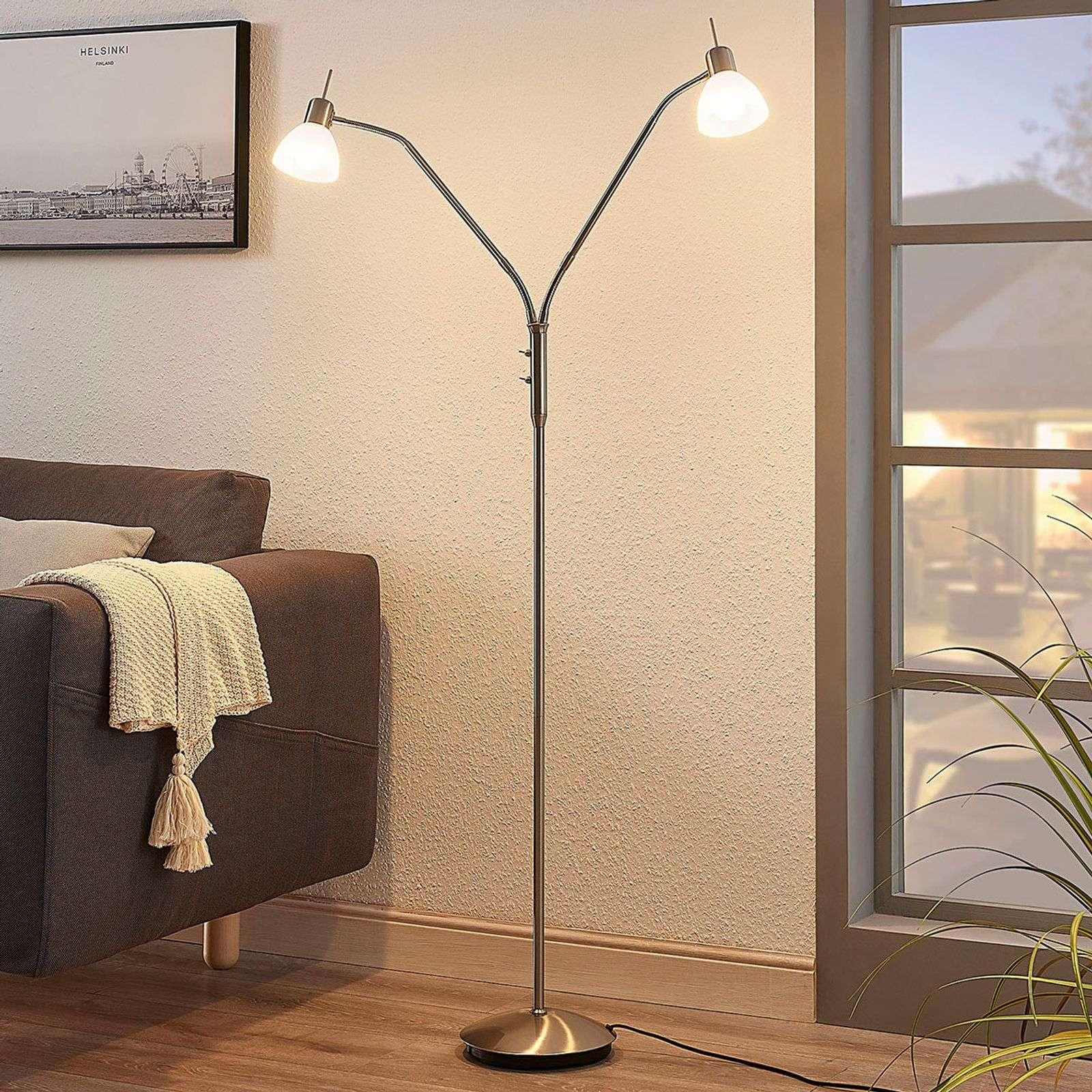 Full Size of Stehleuchte Wohnzimmer Leuchte Ikea Design Stehleuchten Modern Dimmbar Led Lampe Moderne Details Zu Gwendolin 2 Schirme Lampenwelt Leselampe Stehlampe Wohnzimmer Stehleuchte Wohnzimmer