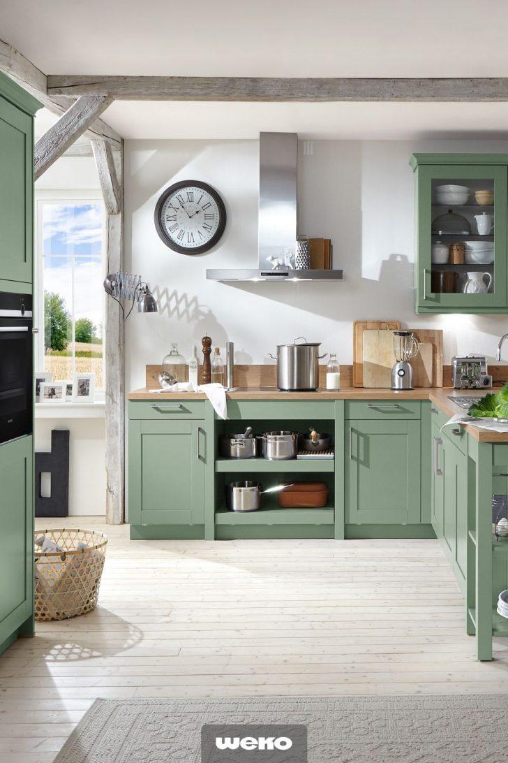 Schicke Landhauskche In Salbeigrn Kche Kchendesign Landhausküche Gebraucht Weiß Grau Weisse Moderne Küche Landhausküche