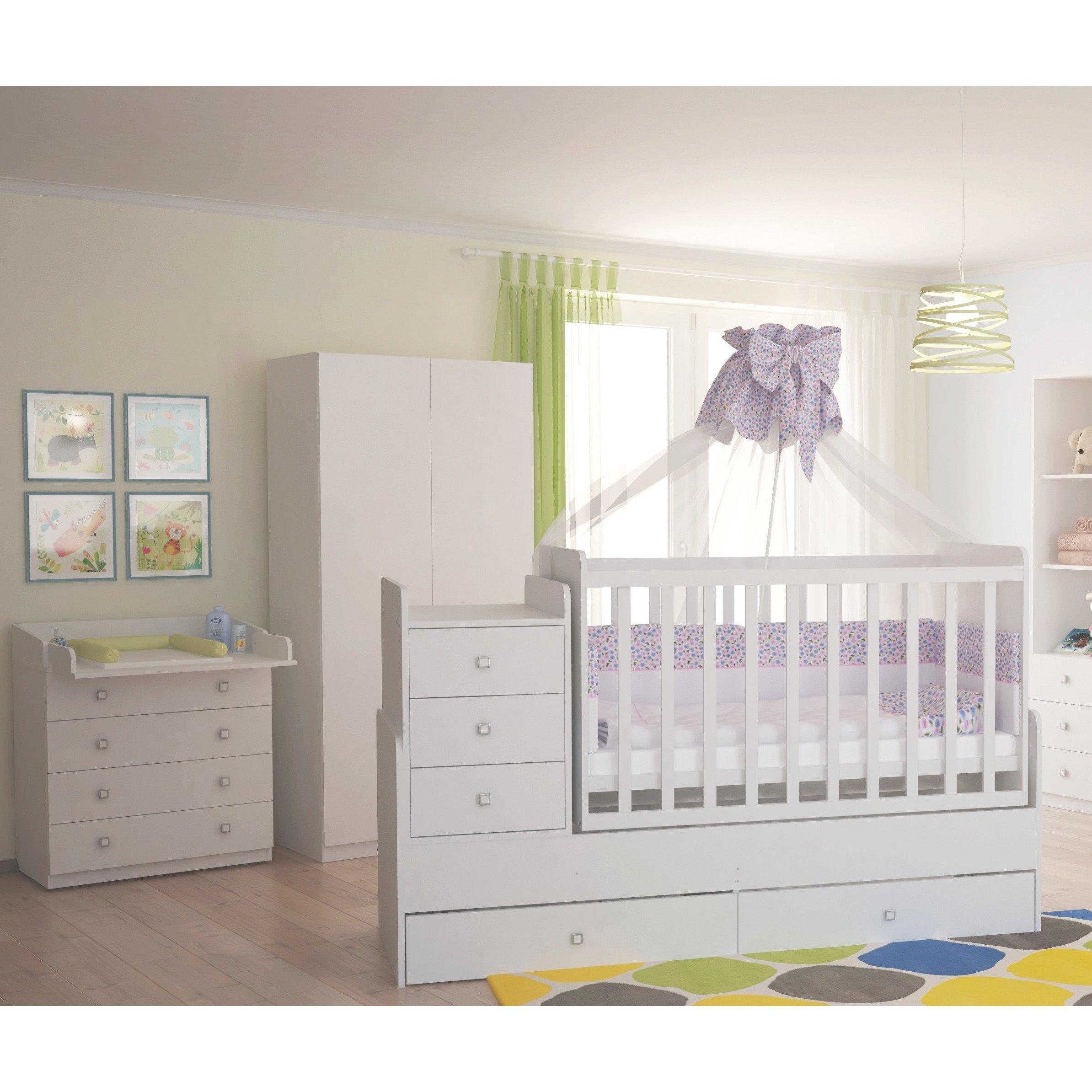 Full Size of Polini Kids Kinderzimmer Set In Wei Kommode Schrank Bett Polinikids Hotel Bad Bentheim Wohnzimmer Lampen Massiv Betten Pantryküche Mit Kühlschrank Bett Bett Im Schrank