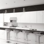 Modern Black And White Kitchen With Bar Stools Küche Theke Küche