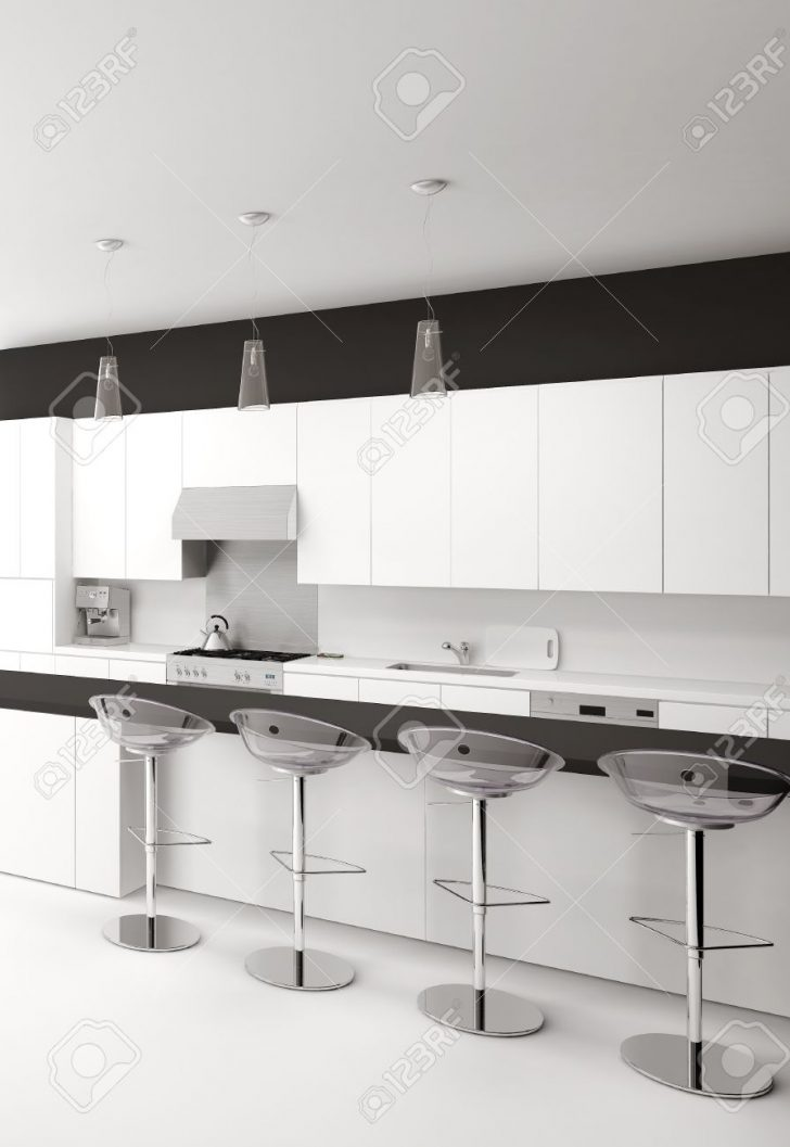 Medium Size of Modern Black And White Kitchen With Bar Stools Küche Theke Küche