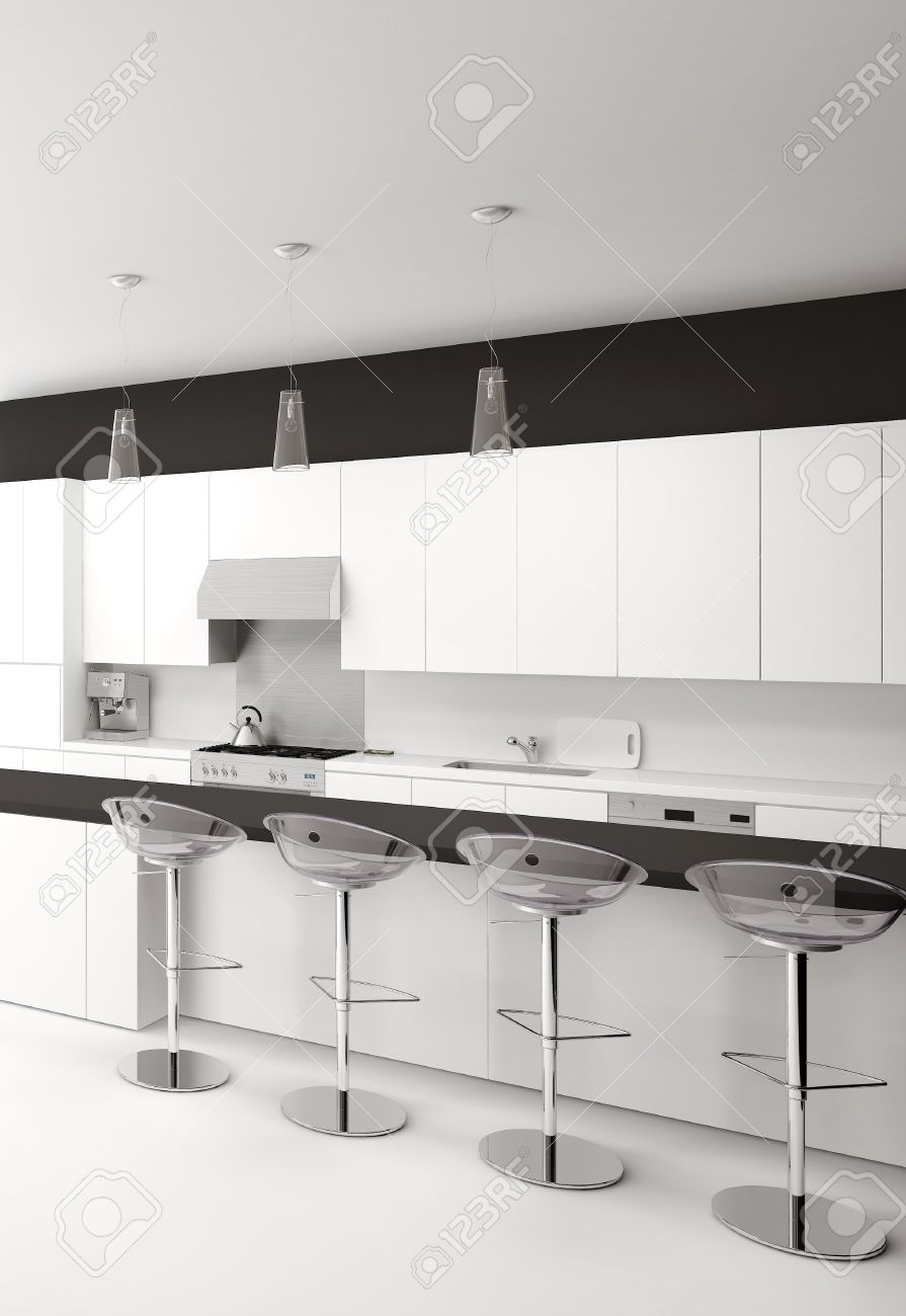 Large Size of Modern Black And White Kitchen With Bar Stools Küche Theke Küche