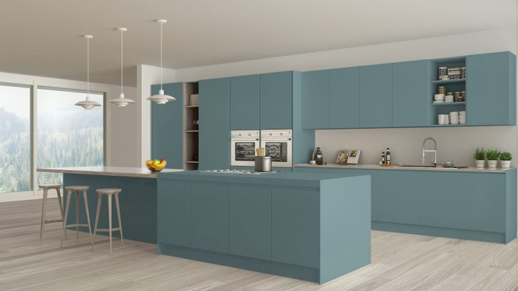 Modern Minimalist Blue And Wooden Kitchen With Island And Big Panoramic Window, Parquet, Pendant Lamps, Contemporary Architecture Interior Design Küche Küche Türkis