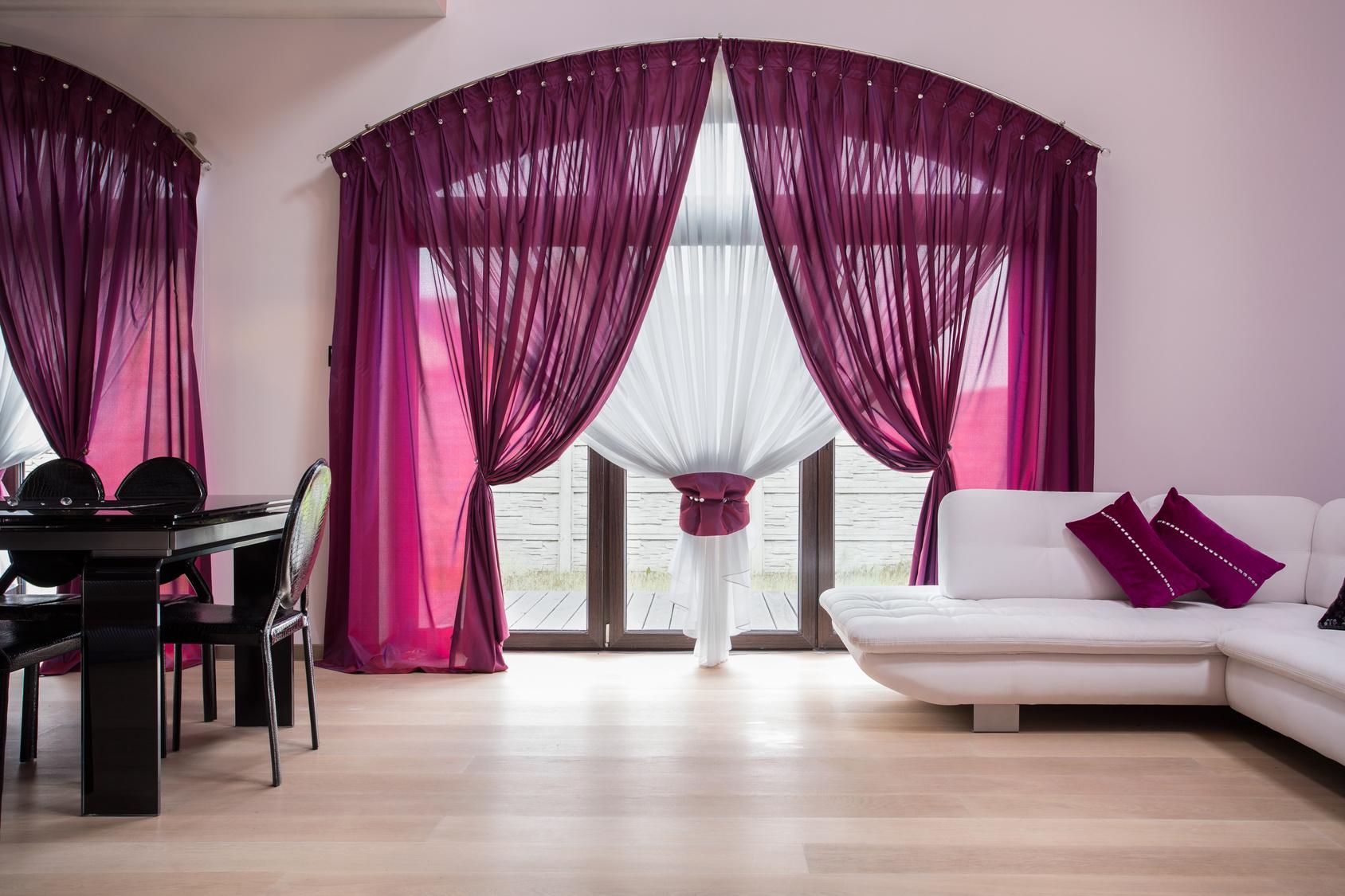 Full Size of Rose Curtains In Modern Interior Wohnzimmer Vorhang Wohnzimmer
