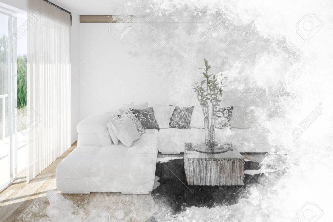 Large Size of Fine Art Textured Sketch Of A Living Room Interior Wohnzimmer Vorhang Wohnzimmer
