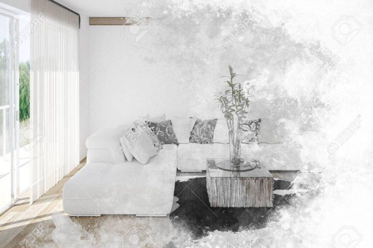 Medium Size of Fine Art Textured Sketch Of A Living Room Interior Wohnzimmer Vorhang Wohnzimmer