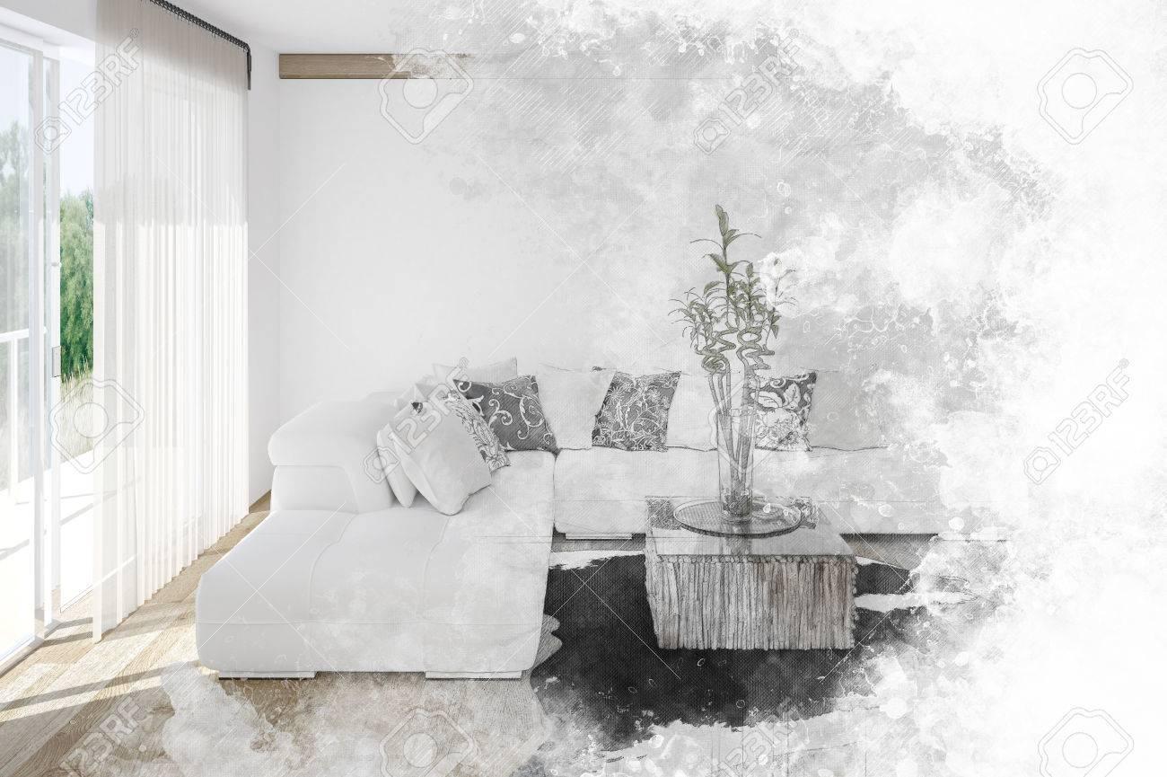 Full Size of Fine Art Textured Sketch Of A Living Room Interior Wohnzimmer Vorhang Wohnzimmer