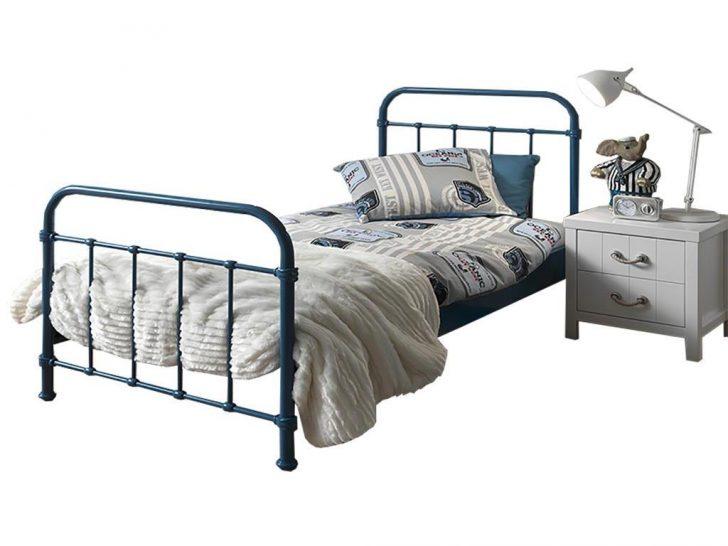 Medium Size of Metall Bett Vipack New York Metallbett Blau 120x200cm 123moebelde Kopfteil Für 140x200 Mit Bettkasten Weiße Betten 140 Möbel Boss Balinesische Schreibtisch Bett Metall Bett