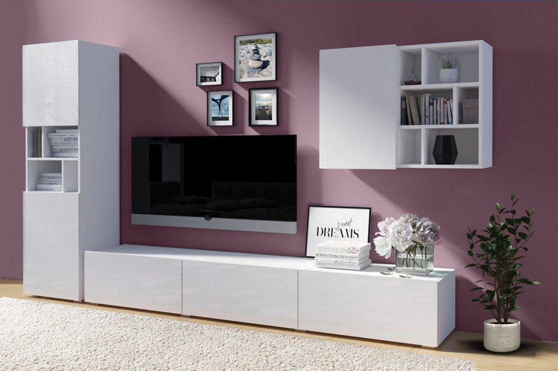Wohnwand 255cm Weiszlig Hochglanz Wohnzimmer Modern Anbauwand Bett Design Led Lampen Modernes Sofa Deckenleuchte Relaxliege Beleuchtung Deckenleuchten Teppiche