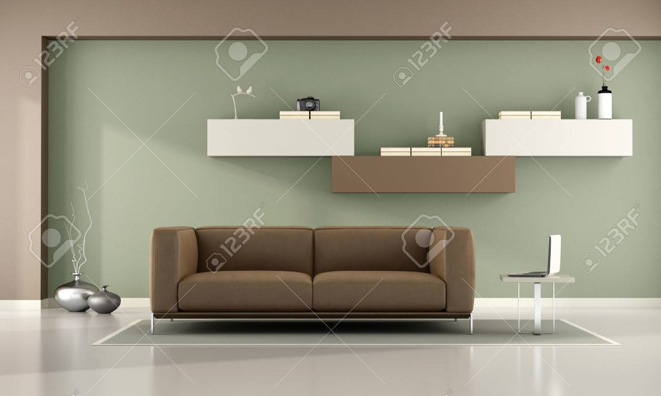 Full Size of Green And Brown Living Room With Wall Unit And Leather Sofa  3d Rendering Wohnzimmer Wohnzimmer Schrankwand