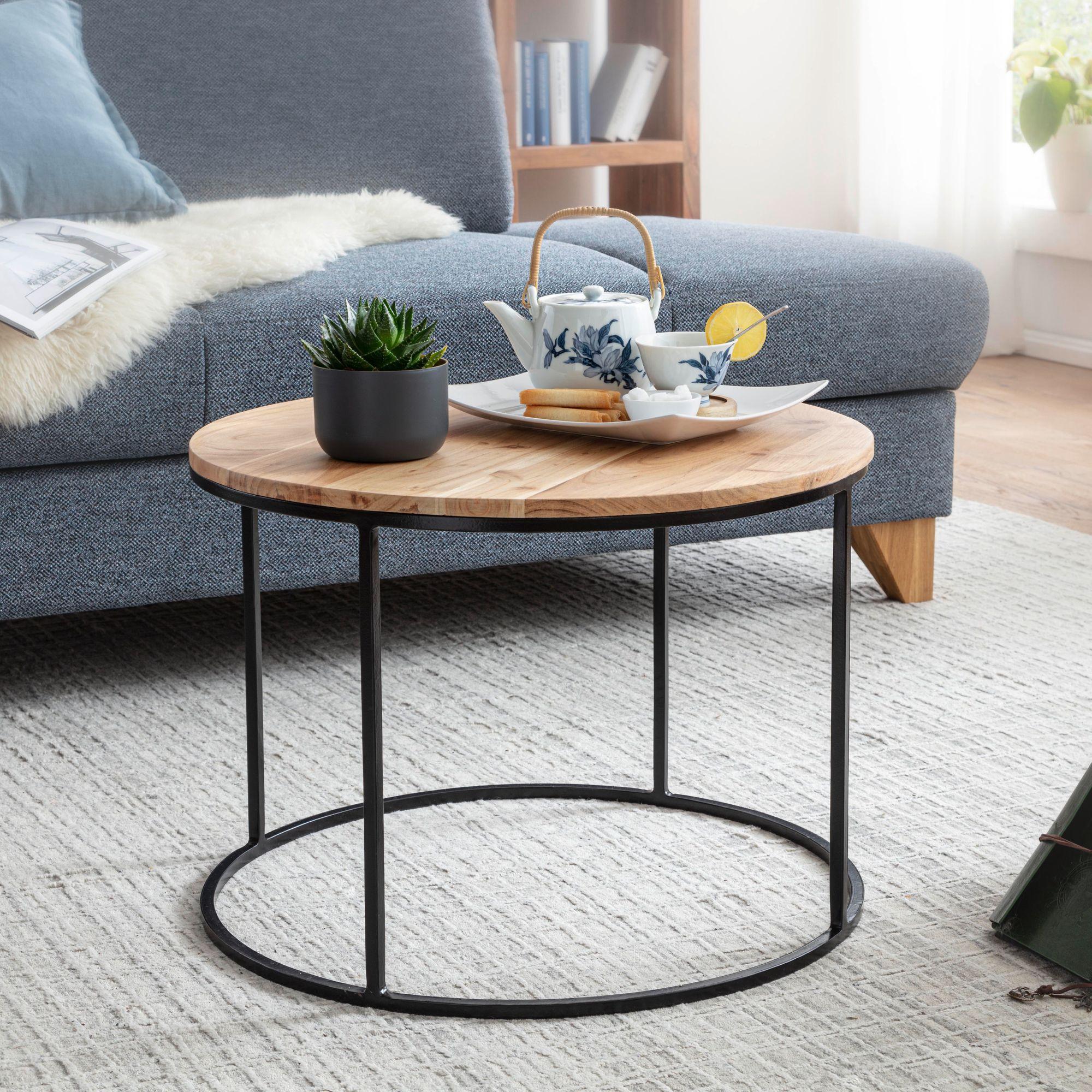 Full Size of Wohnzimmer Tisch Wohnling Couchtisch 60x43x60 Cm Akazie Massivholz Metall Sofatisch Design Wohnzimmertisch Rund Kaffeetisch Massiv Kleiner Esstisch Grau Liege Wohnzimmer Wohnzimmer Tisch