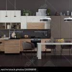 Weiße Küche Moderne Braune Und Weie Kche Mit Esstisch Stockfoto Einrichten Gardinen Für Die Planen Kostenlos Kreidetafel Gebrauchte Einbauküche Müllsystem Küche Weiße Küche