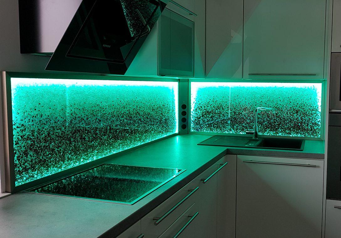 Large Size of Kchenrckwand Led Licht Dimmen Farben Wechseln Glaszone Tapeten Für Die Küche Hängeschrank Höhe Tapete Modern Abfallbehälter Pendelleuchte Wasserhahn Küche Rückwand Küche Glas