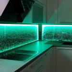 Kchenrckwand Led Licht Dimmen Farben Wechseln Glaszone Tapeten Für Die Küche Hängeschrank Höhe Tapete Modern Abfallbehälter Pendelleuchte Wasserhahn Küche Rückwand Küche Glas