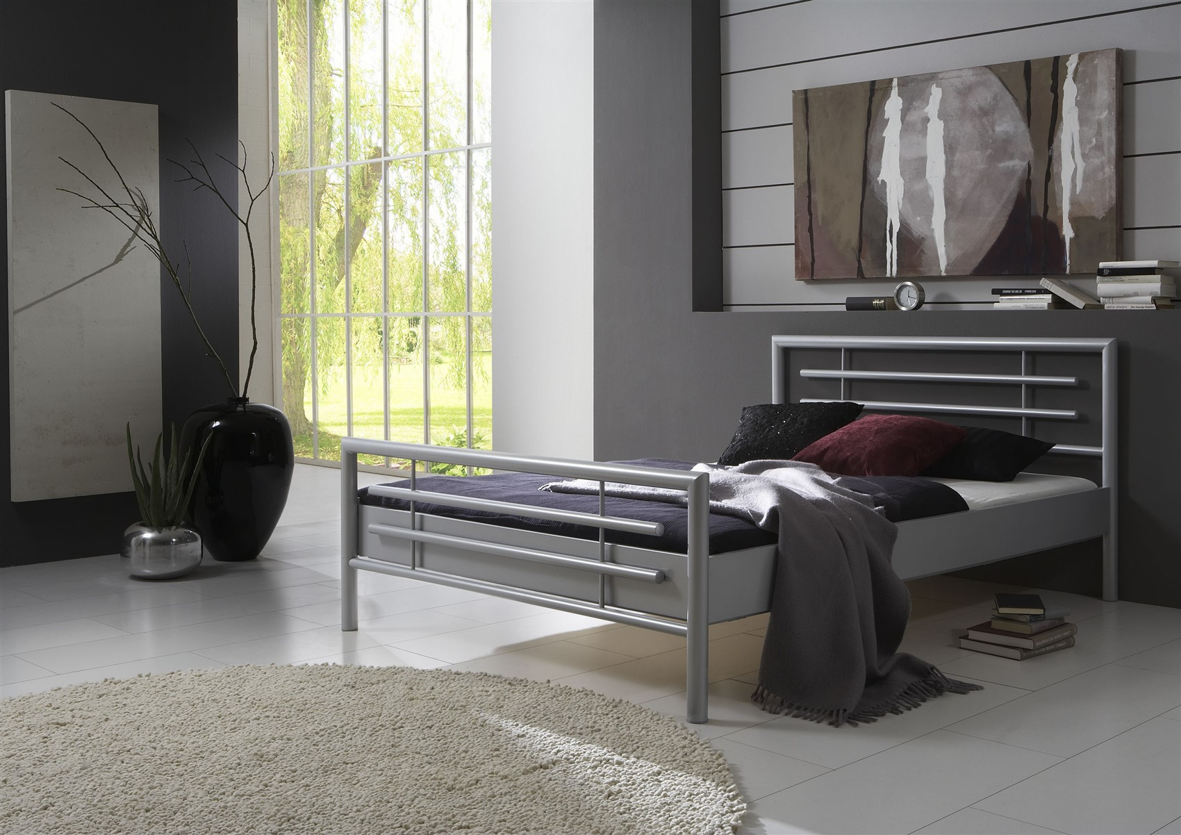 Full Size of Metallbett Doppelbett Bett Steel Nr01 Silber Lackiert 140x220 Cm Musterring Betten Im Schrank Weißes Mit Aufbewahrung Tatami Eiche Hohes Günstig Kaufen Baza Bett Bett 140x220