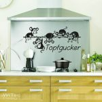 Wandsticker Küche Küche Wandsticker Küche Wandtattoo Topfgucker Maus Muse Essen Kochen Spruch Kche Einbauküche Mit E Geräten Stehhilfe Waschbecken Laminat Für Spüle Küchen Regal