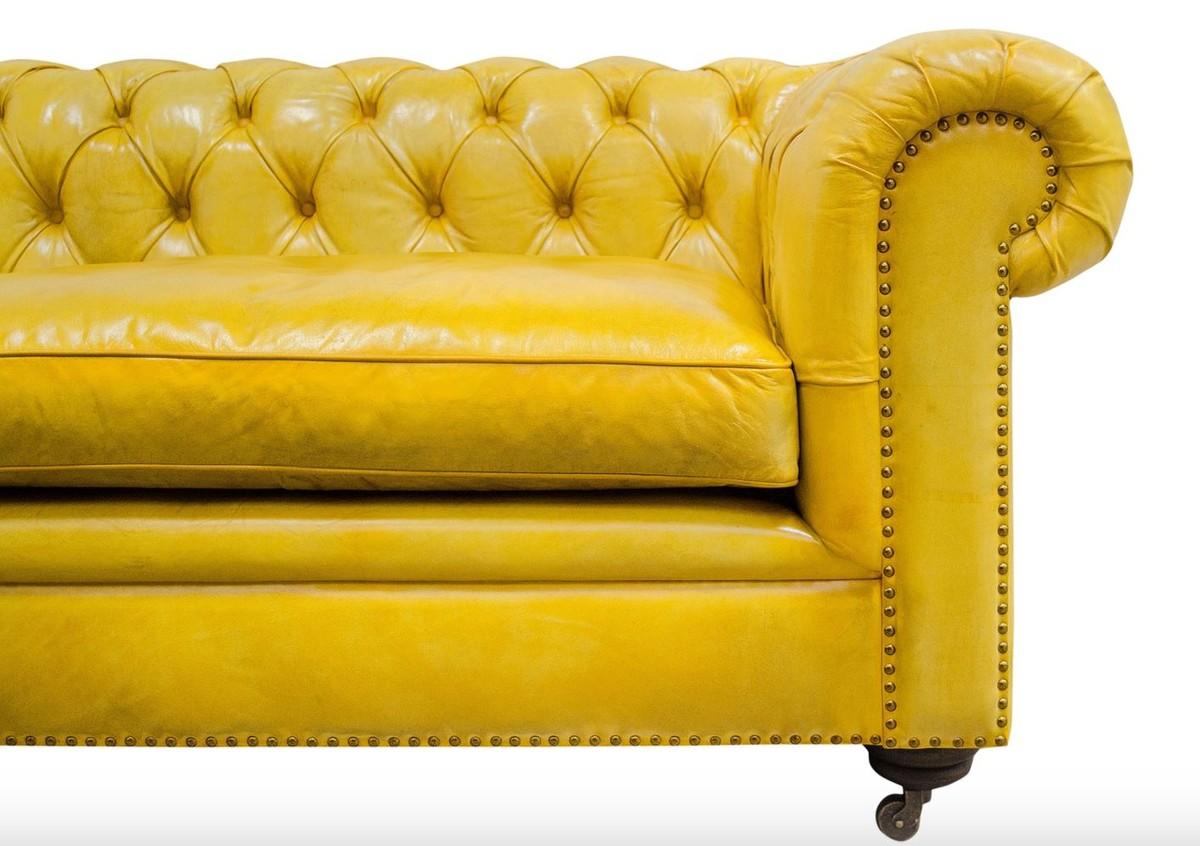 Full Size of Casa Padrino Luxus Chesterfield 2er Sofa Gelb 242 100 H 71 Cm Boxspring Mit Schlaffunktion Lounge Garten Le Corbusier Günstig Bezug 2 Sitzer Relaxfunktion Sofa Sofa Gelb