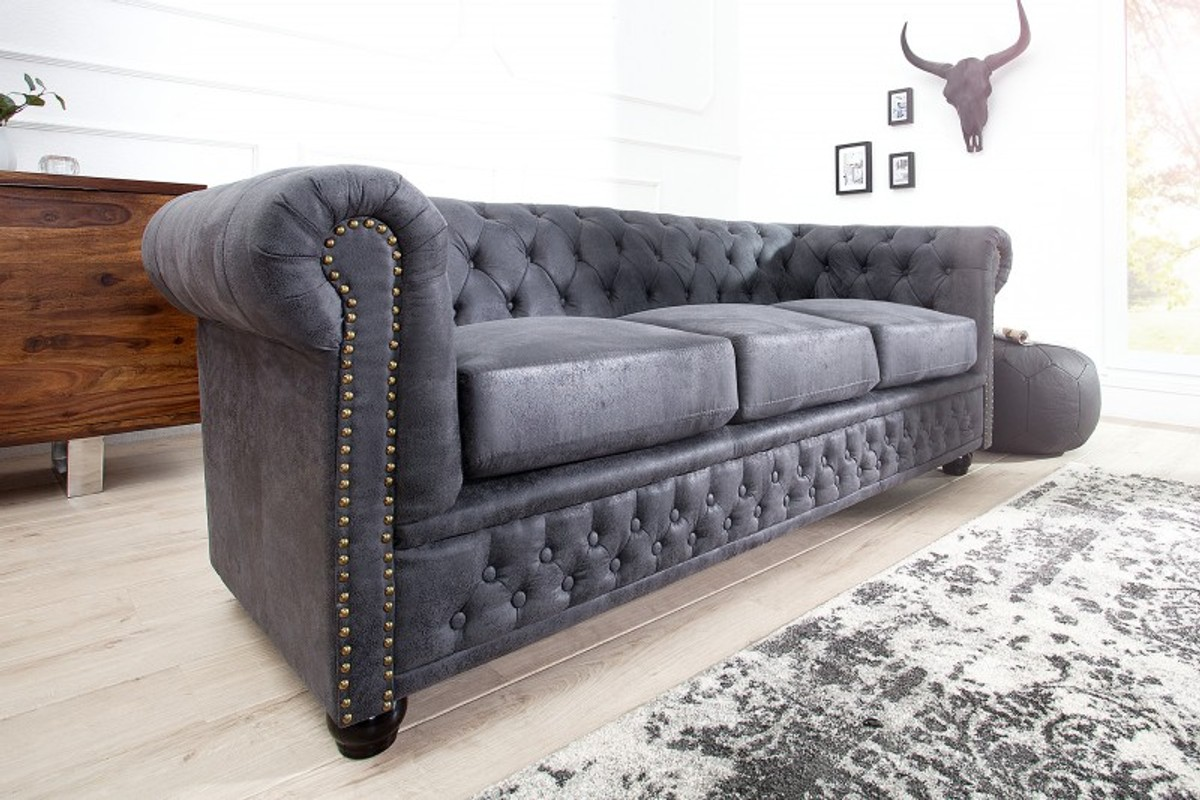 Full Size of Chesterfield Sofa Grau Samt Couch 2 Sitzer Stoff Otto Graue 3 Seater Antique Gray From Casa Padrino Living Luxus 3er Ohne Lehne Walter Knoll Türkis Leder Sofa Chesterfield Sofa Grau