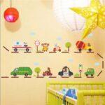 Wandaufkleber Kinderzimmer Kinderzimmer Wandaufkleber Cartoon Krankenwagen Feuer Kampf Lkw Bus Trommelmischer Autobahn Regale Regal Sofa Weiß