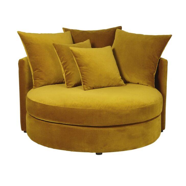 Medium Size of Rundes Sofa 1 2 Sitzer Mit Samtbezug Senfgelb Dita Boxspring Kunstleder Höffner Big Schlaffunktion Federkern Mega 3er Grau Ikea Natura Garnitur Leder Sofa Rundes Sofa