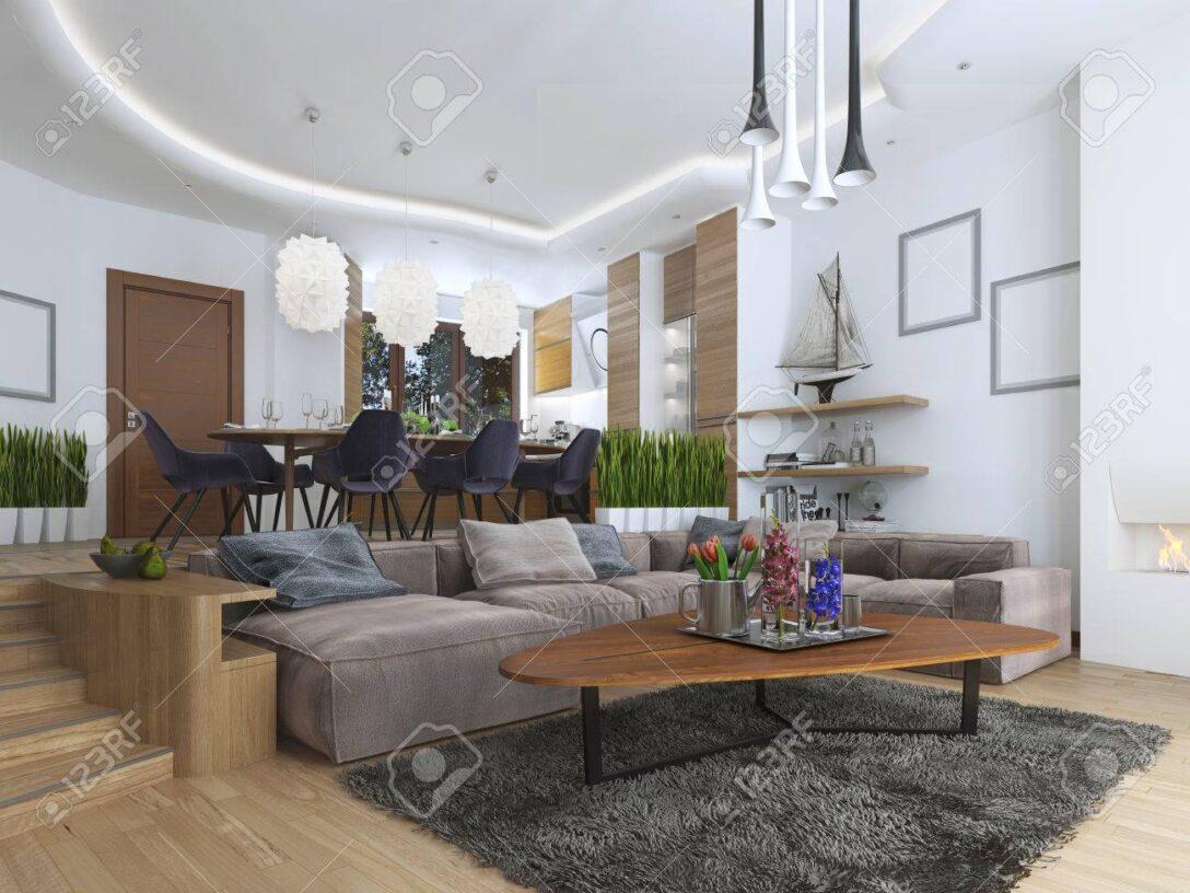 Large Size of Sofa Für Esszimmer Studio Wohnung Mit Wohnzimmer Und In Einem Stil Esstisch Weißes Fliesen Dusche Kissen Chesterfield Günstig Angebote Sichtschutzfolien Sofa Sofa Für Esszimmer