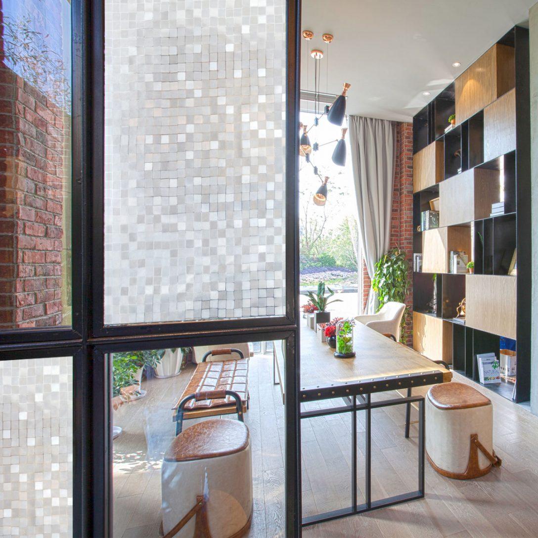 Large Size of Klebefolie Fenster Mosaik Fensterfolie Sichtschutz 45x200cm Pvc Teleskopstange Mit Lüftung Bodentief Velux Rollo Bodentiefe Folie Für Rc3 Auf Maß Fenster Klebefolie Fenster