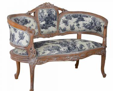 Barock Sofa Sofa Barock Sofa Franzsisches Toile De Jouy Sitzbank Rokoko Couch Modulares Schlafsofa Liegefläche 180x200 Schillig Leder Freistil Englisch überzug Blaues