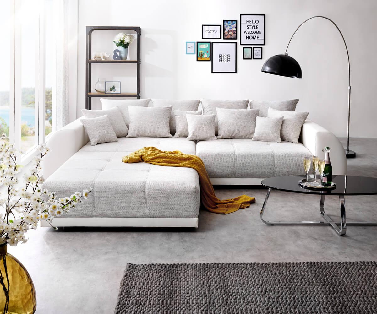 Full Size of Big Sofa Violetta 310x135 Cm Hellgrau Creme Mit Hocker Mbel Sofas Xxl Grau Elektrischer Sitztiefenverstellung Schlafsofa Liegefläche 160x200 Spiegelschrank Sofa Big Sofa Mit Hocker