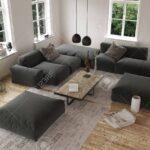 Modulares Sofa Modular Set Flex Lennon Westwing System Ikea Erhhte Ansicht Auf Leeren Zeitgenssische Wohnzimmer Mit Groen Eck Wohnlandschaft Dauerschläfer Sofa Modulares Sofa