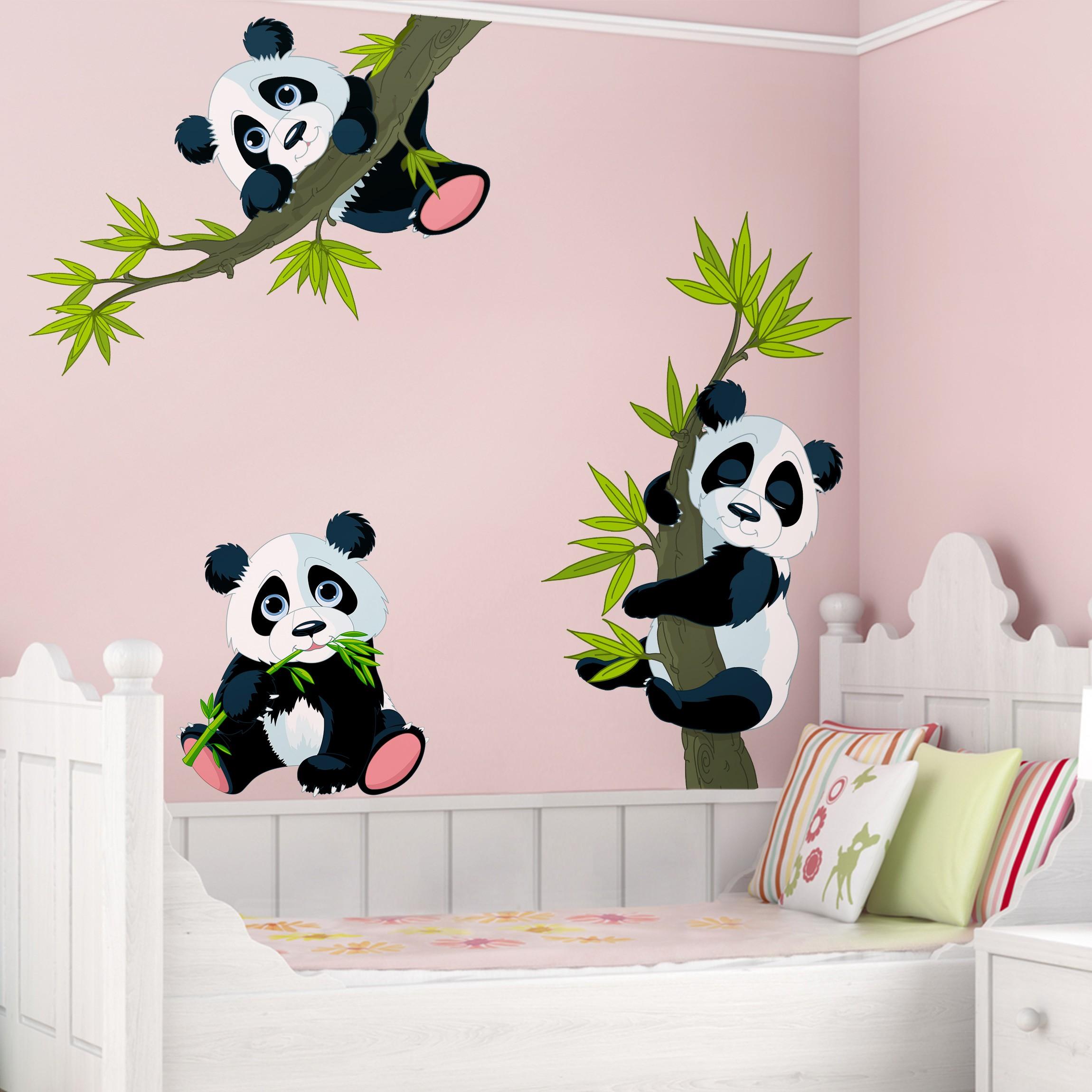 Full Size of Wandaufkleber Kinderzimmer Wandtattoo Pandabren Set Regal Sofa Weiß Regale Kinderzimmer Wandaufkleber Kinderzimmer