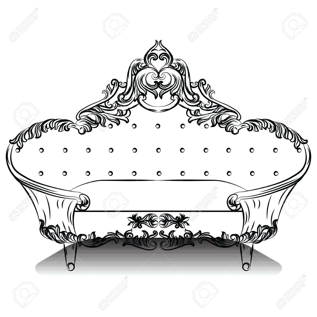 Full Size of Luxury Barock Sofa Mit Luxurisen Verzierungen Elegante Groß Big Grau Rotes 2 Sitzer Relaxfunktion Marken Chesterfield Hussen Rattan überwurf Sofa Barock Sofa
