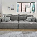 Big Sofa Xxl Moldau Couch In Microfaser Grau Mit Kissen Blaues Led Zweisitzer L Schlaffunktion Englisches Kare U Form Ebay Leder Groß Halbrund Relaxfunktion Sofa Big Sofa Xxl