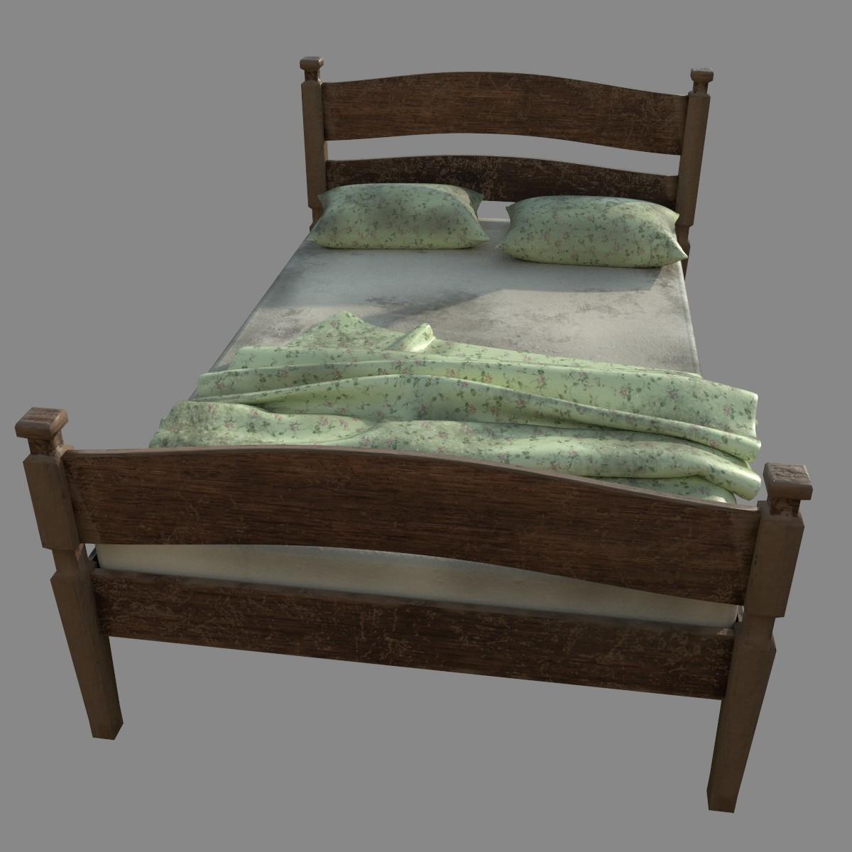 Full Size of Altes Bett Kostenlos Hlzernes 3d Modell Turbosquid 1409056 Hoch 160x200 Mit Lattenrost Kleinkind Französische Betten Komplett Weiß Schubladen Jugendzimmer Bett Altes Bett