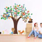 Wandaufkleber Kinderzimmer Kinderzimmer Cartoon Tiere Affe Br Fuchs Hedgehog Vgel Groen Baum Regal Weiß Regale Sofa