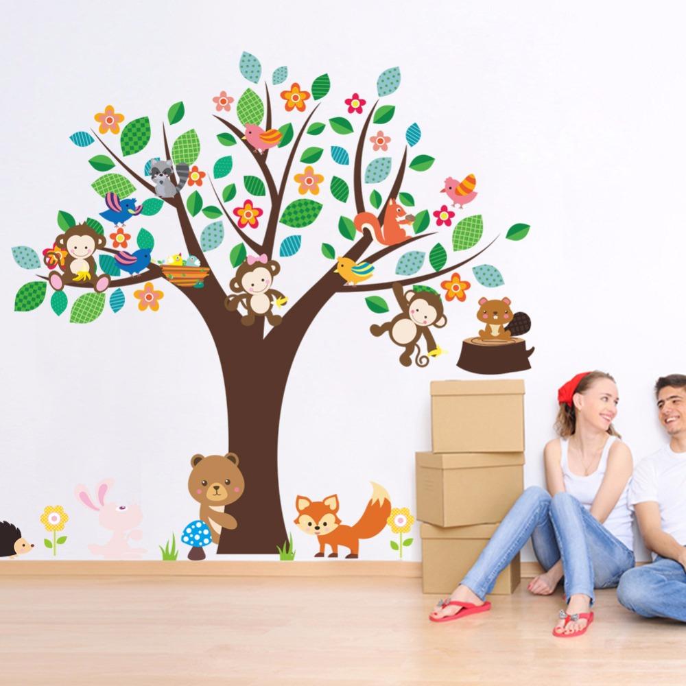 Full Size of Cartoon Tiere Affe Br Fuchs Hedgehog Vgel Groen Baum Regal Weiß Regale Sofa Kinderzimmer Wandaufkleber Kinderzimmer