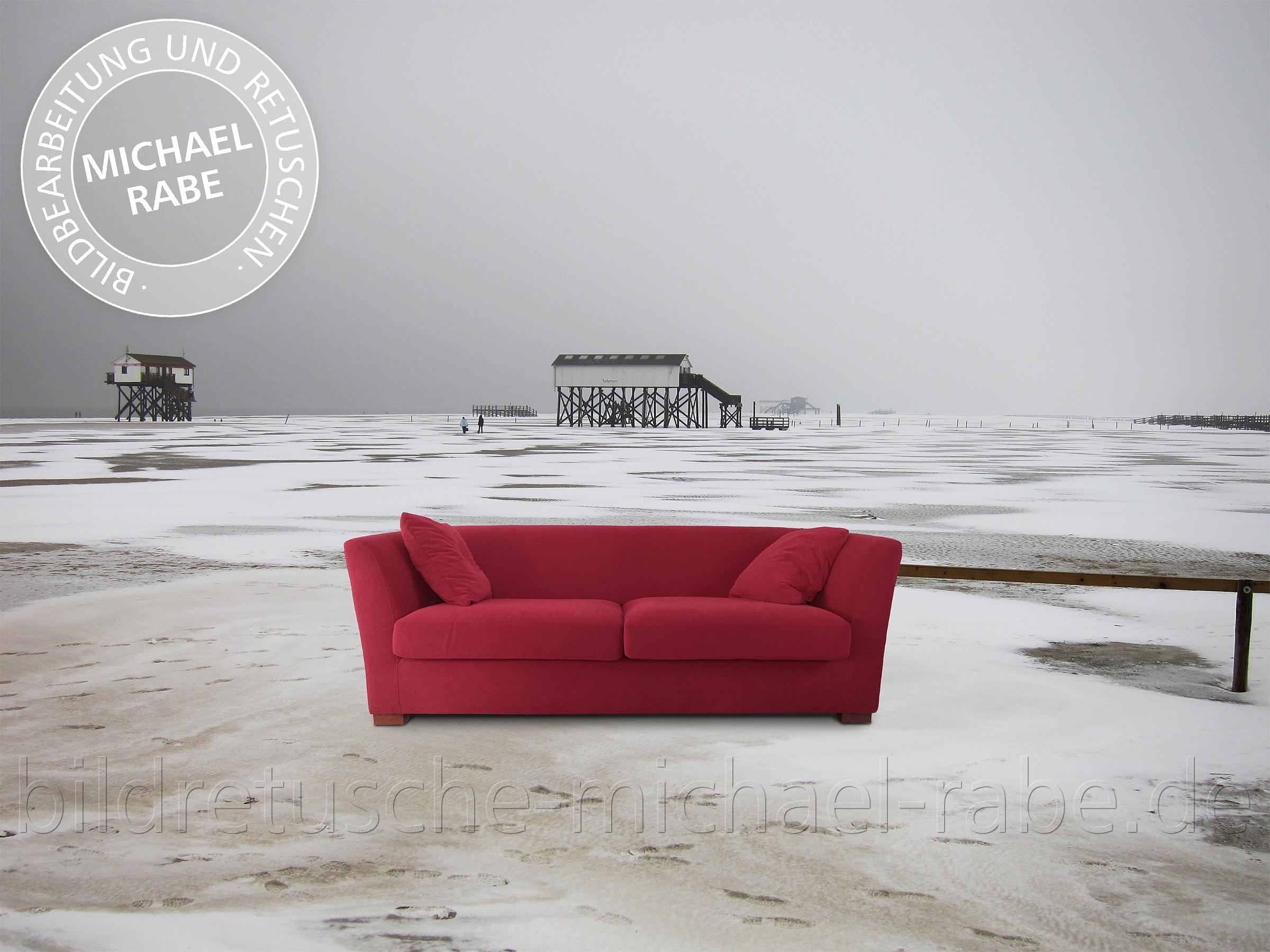 Full Size of Rotes Sofa Fotomontage Und Composing Am Eisigen Strand Schlafsofa Liegefläche 180x200 Kaufen Günstig Schlaffunktion Wk Ausziehbar Tom Tailor Flexform Großes Sofa Rotes Sofa