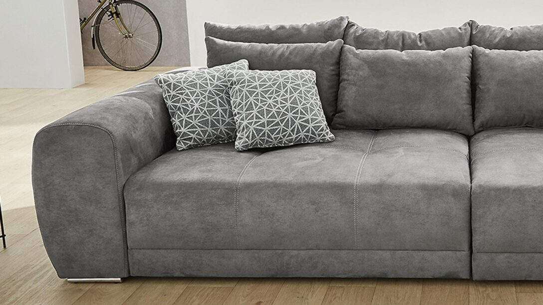 Large Size of Big Sofa Moldau Xxl Couch In Microfaser Grau Mit Kissen Canape Chesterfield Günstig Graues Regal Home Affair Barock Boxspring Kunstleder Karup Goodlife Kaufen Sofa Big Sofa Grau