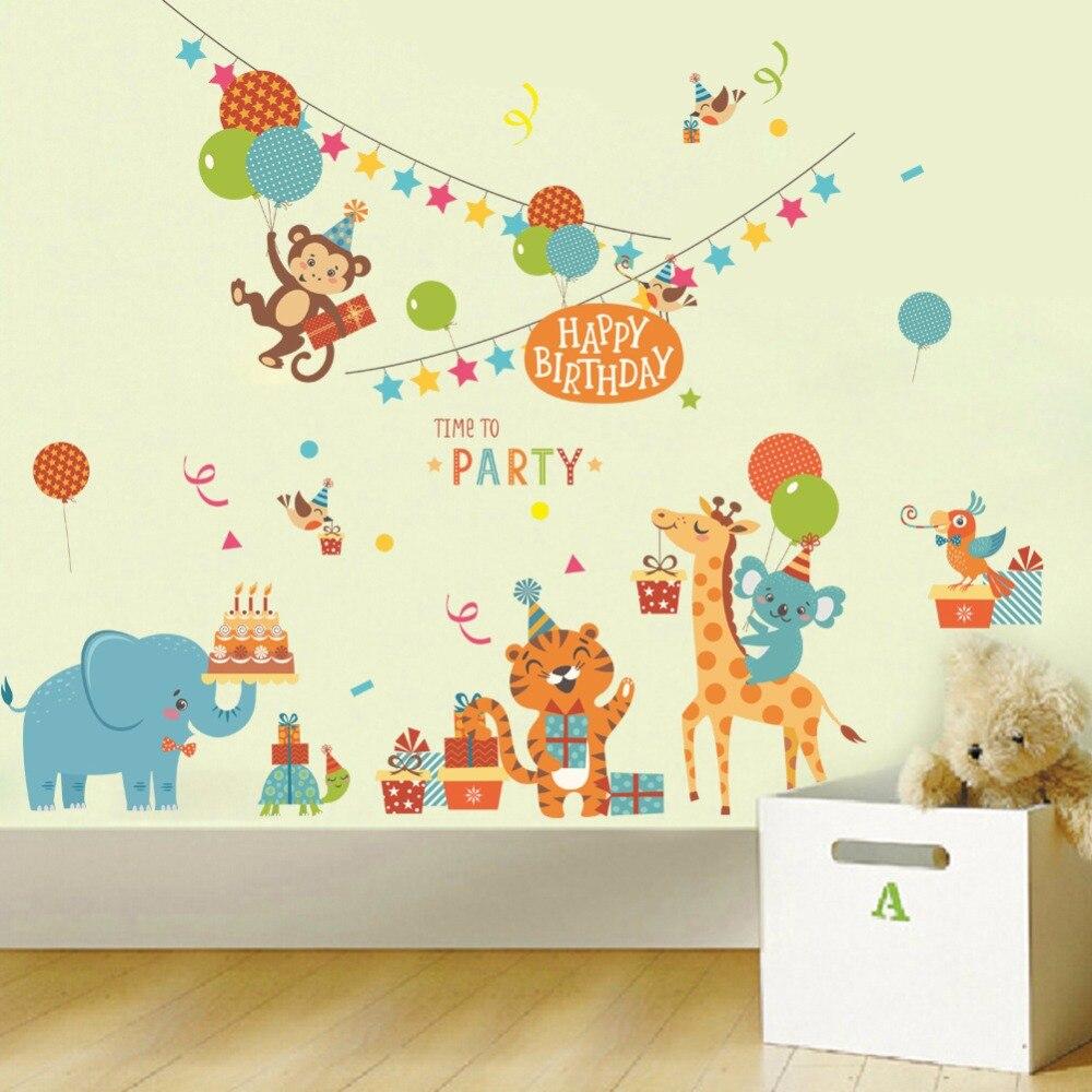 Full Size of Cartoon Tiere Geburtstag Party Wandaufkleber Regal Weiß Sofa Regale Kinderzimmer Wandaufkleber Kinderzimmer