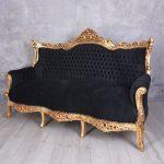 Barock Sofa Barocksofa Antik Couch Retro Salon Schwarz Gold Barockstil W Schillig Für Esszimmer Antikes U Form Led Big Mit Hocker L Xxl Günstig Brühl Sofa Barock Sofa