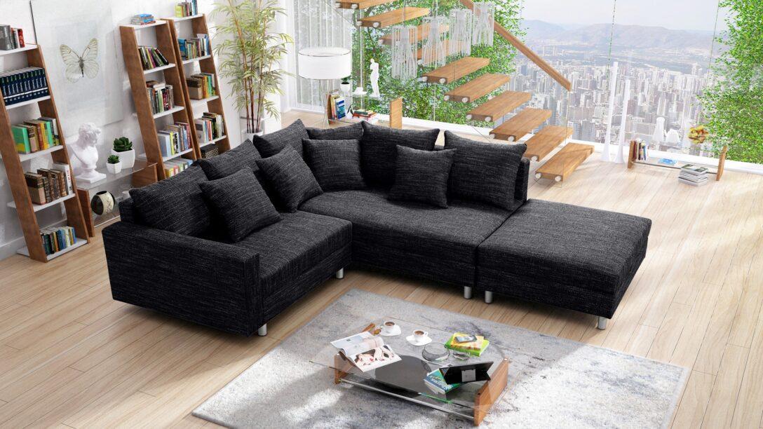 Large Size of Modernes Sofa Couch Ecksofa Eckcouch In Gewebestoff Schwarz Mit Polyrattan Groß Chesterfield Leder 3 Teilig Big Hocker Husse Hannover Rahaus Holzfüßen Sofa Sofa Mit Hocker